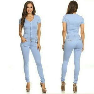 Denim - Light blue wash body suit jumpsuit