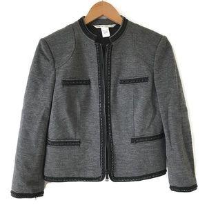 DVF Roccoco Felted Blazer Jacket Size 2 Gray