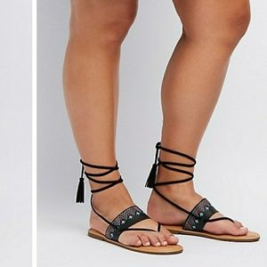 Charlotte Russe lace up sandals size 8 wide new