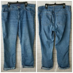 NYDJ cuffed ankle jeans light rinse 12 inseam 27