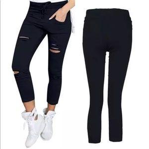 Pants - NEW! Distressed skinnies military green/black