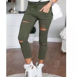 Pants - NEW! Distressed skinnies military green/black