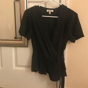 Flowing Black Wrap Shirt
