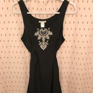 ESLEY ASYMMETRICAL BLACK EMBROIDERED MINI DRESS M