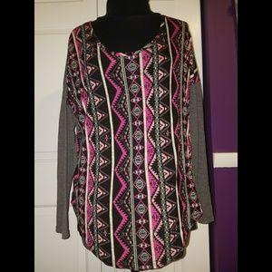 Rue 21 Long Sleeve Aztec Pattern Shirt