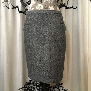 Anthropologie Blue Robin Tweed Ruffle Pocket Skirt