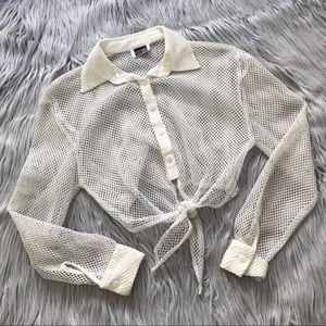 VINTAGE 1980's Mesh Long Sleeve Tie Crop Top