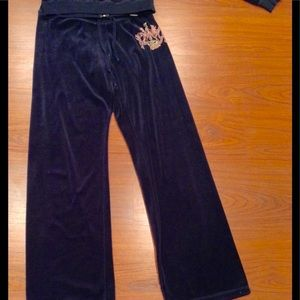 Navy Blue Velour Juicy Pants
