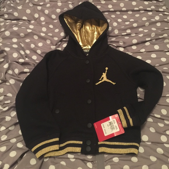 a6615def20936e New Girls Air Jordan Black Gold Jacket Size 4