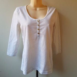NWT CHAPS Women's White Gold Striped Henley Top