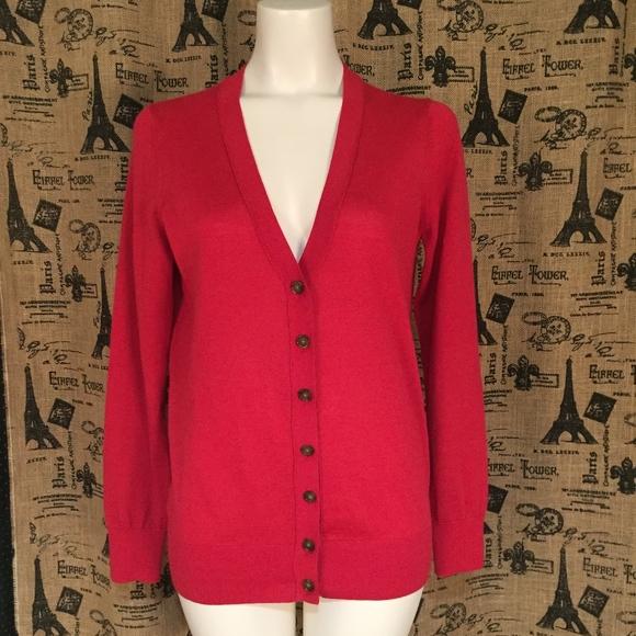 LOFT - Loft Red Long Boyfriend Cardigan Sweater Size M from ...