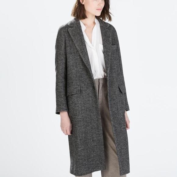 c9b9e74b Zara Jackets & Coats | Herringbone Maxi Coat | Poshmark