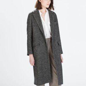 Zara Herringbone maxi coat