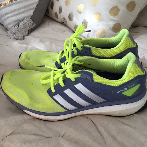 Adidas neon breathable running shoes