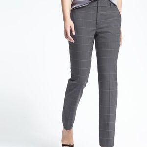 Lightweight wool trousers in windowpane plaid