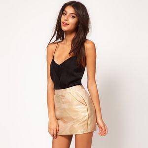 Asos Collection Metallic Gold Jacquard Mini Skirt