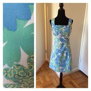 Blue-green floral a-line square neck dress
