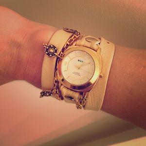 La Mer Collections Leather Wrap Watch Nude Gold