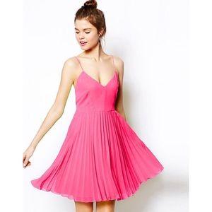 NWT! ASOS pink pleated mini dress