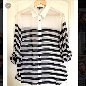 Bebe silk striped top