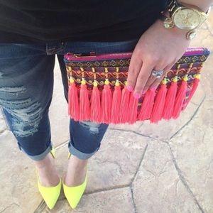 🔥SALE Multi color tassel clutch target fun purse