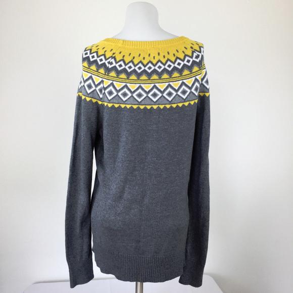 Merona - Merona Gray and Yellow Argyle Fair Isle Sweater from ...