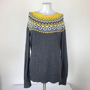 Merona Gray and Yellow Argyle Fair Isle Sweater