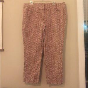 Pink patterned  LOFT dress pants. Marissa Cut.