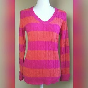 Loft cable knit sweater sz M pink orange v neck