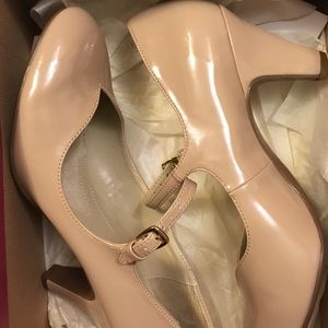 """Naturalized Taupe Patent leather 2"""" heel Mary Jane"""