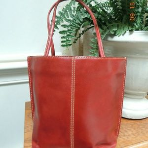 Wilson red leather tote bag