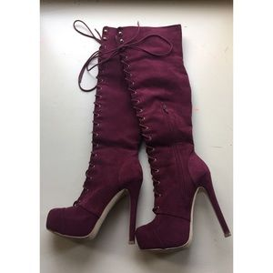 Burgundy Lace-Up Suede Heeled Over-the-Knee Boots