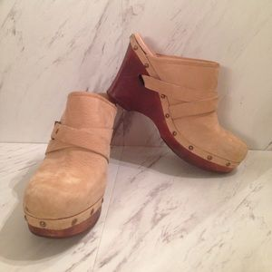 UGG Suede Wedge Clogs with Studs and Strap