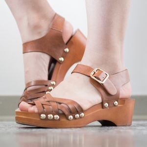 Topshop Gold Accent Wooden Strappy Wedge Sandals