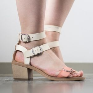 Lucky Brand Double Strap Cream & Orange Sandals