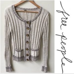 Free People cream tan button sweater cardigan