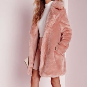 Forever 21 blush pink faux fur fuzzy coat