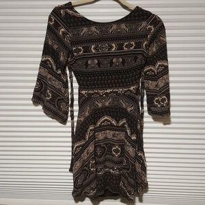 Chic black and creme tribal mini dress