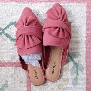 Bamboo pink bow pointed toe slipper loafers