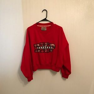 Express Vintage Crop Plaid Spell Out Sweater XS