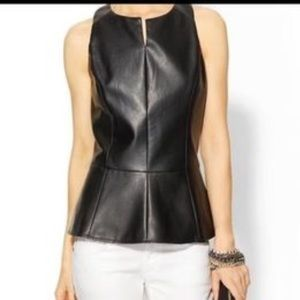 🆕 Tinley Road Black faux leather peplum top XS
