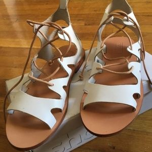 NWT Topshop Fig Lace Up Sandals White US 8.5