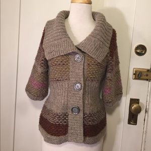 Free people fall wool blend cardigan 3/4 sleeve