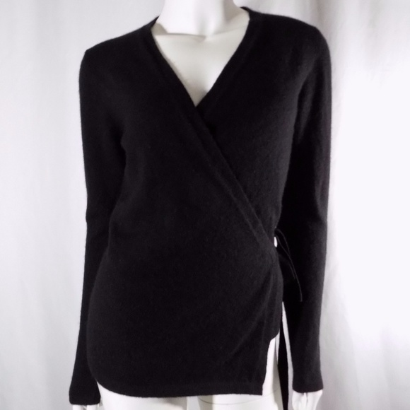 85% off Subtle Luxury Sweaters - Subtle Luxury Black Cashmere Wrap ...