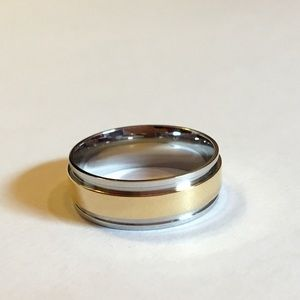 Stainless Steel and Gold Men's Wedding Band