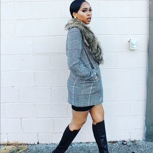 Checkered pea coat with fur