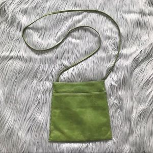HOBO Sleek Green Leather Crossbody Bag