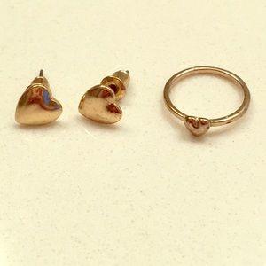 Heart Midi Ring & Stud Earrings