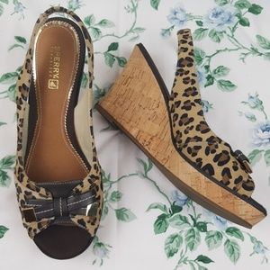 Sperry Top Sixer Leopard Sling Back Wedge Sz 8.5