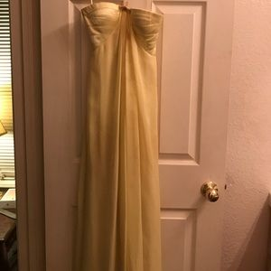 Canary Yellow Strapless Formal Gown